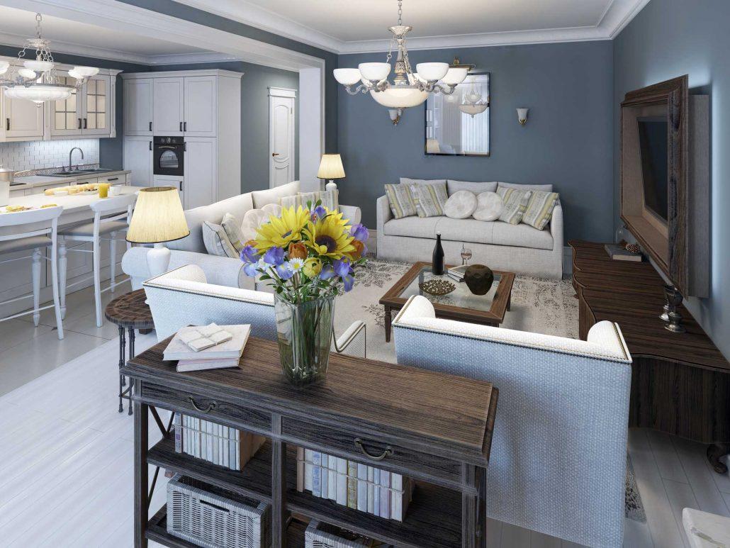 Obývací pokoj ve středomořském stylu s modrými stěnami